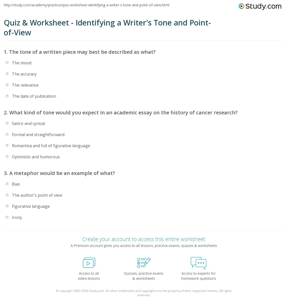 quiz worksheet identifying a writer s tone and point of view what kind of tone would you expect in an academic essay on the history of cancer research