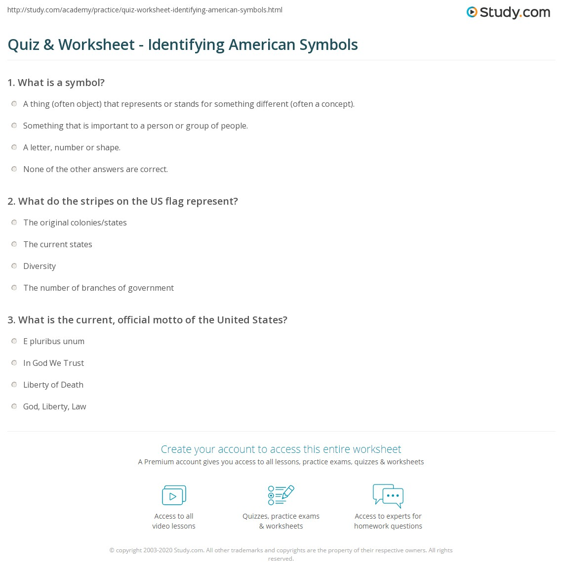 Printables American Symbols Worksheet quiz worksheet identifying american symbols study com print understanding the meaning history of worksheet