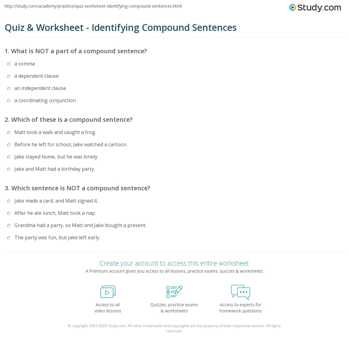 Quiz & Worksheet - Identifying Compound Sentences  Study.com multiplication, free worksheets, education, and worksheets for teachers Faulty Parallelism Worksheets 2 1382 x 1140