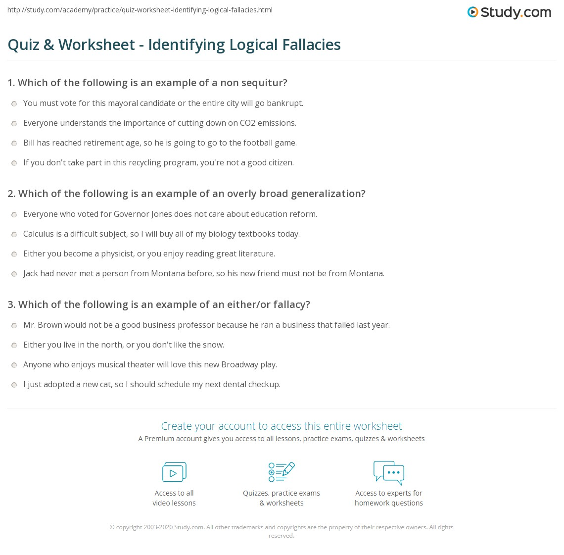 {Quiz Worksheet Identifying Logical Fallacies – Fallacies Worksheet