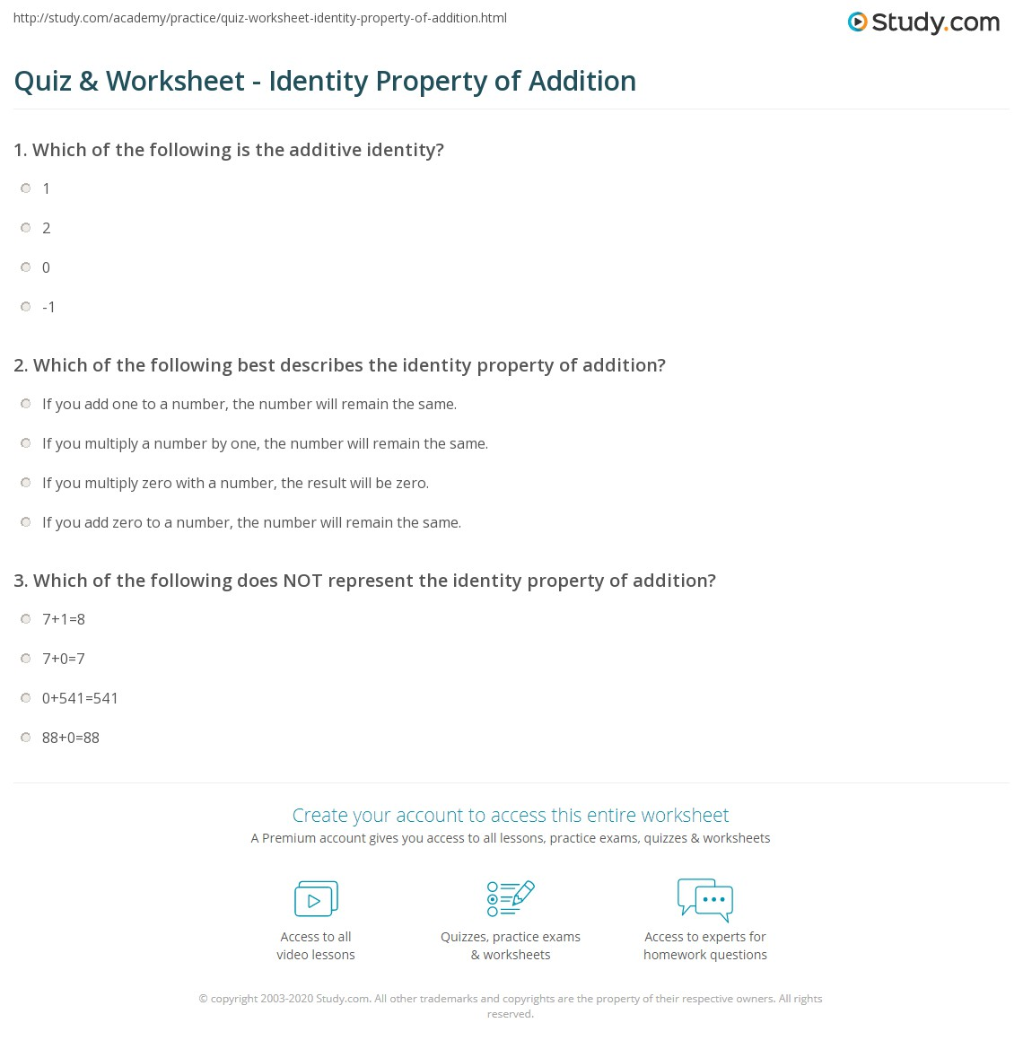Quiz & Worksheet - Identity Property of Addition | Study.com