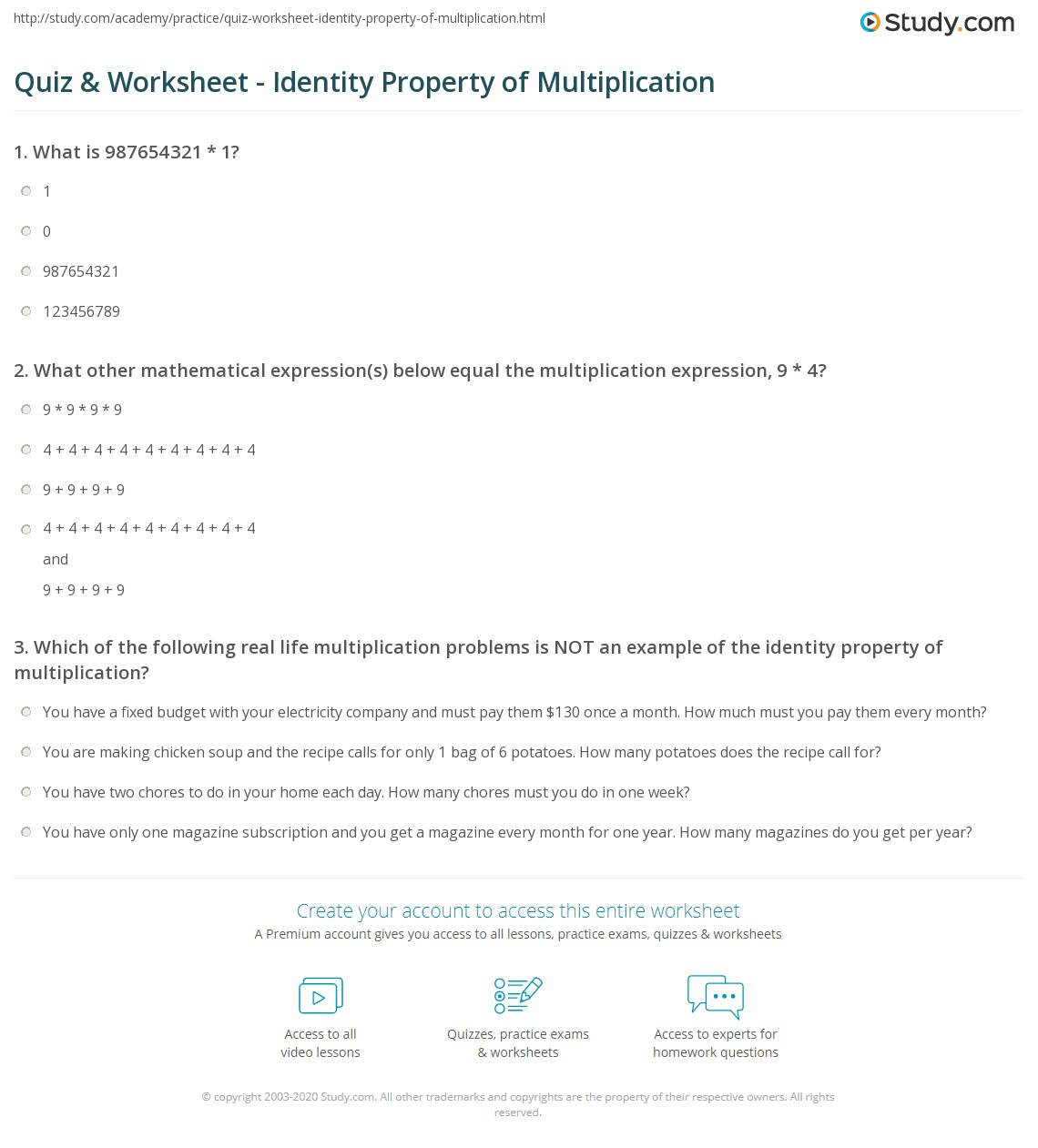 Quiz Worksheet Identity Property of Multiplication – Properties of Multiplication Worksheet