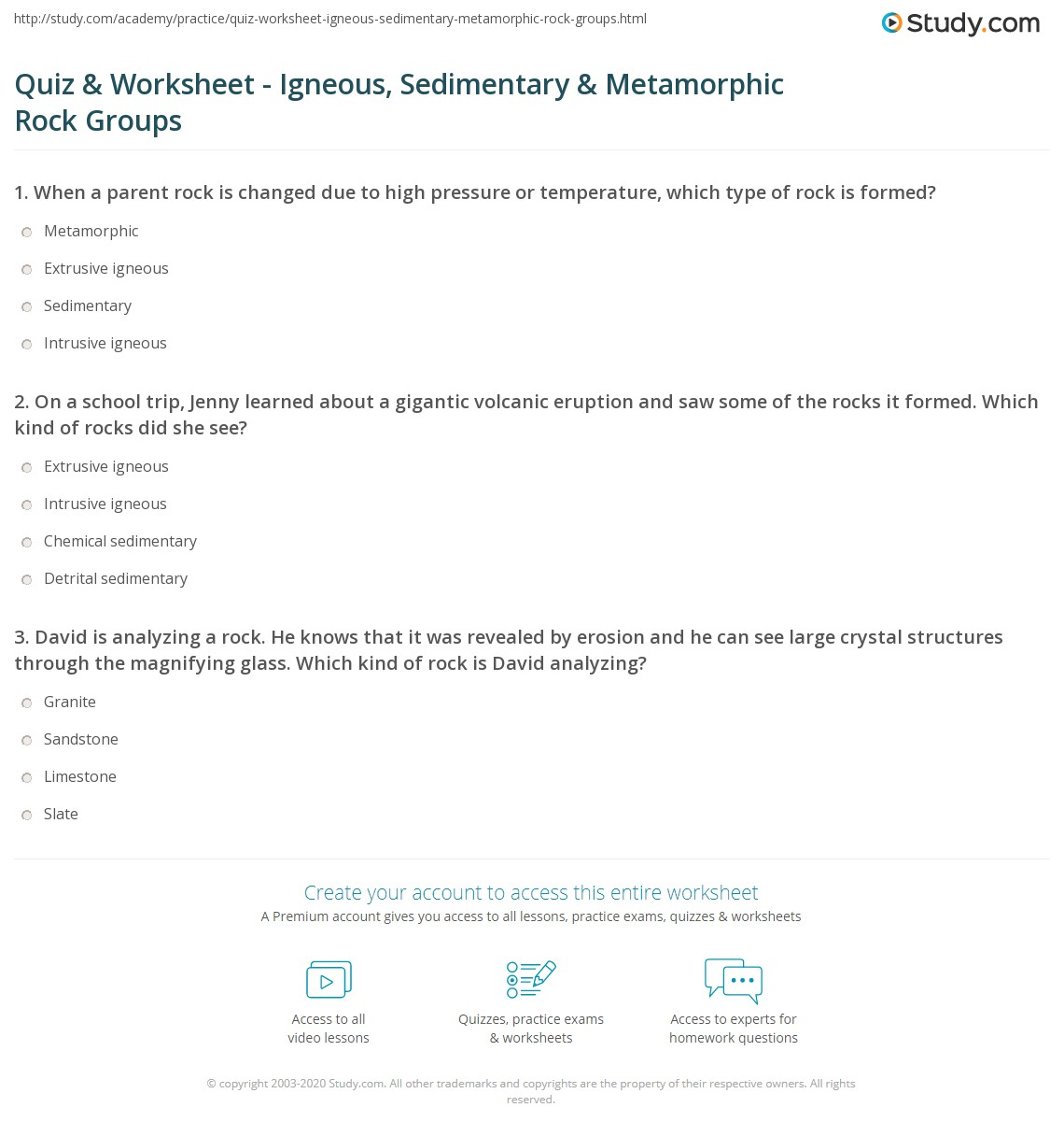 Quiz & Worksheet - Igneous, Sedimentary & Metamorphic Rock Groups ...