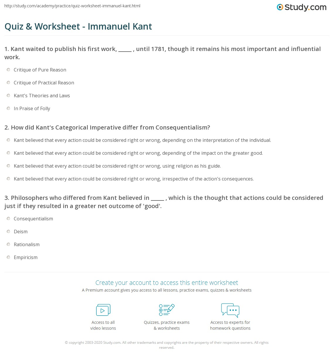 quiz worksheet immanuel kant com print immanuel kant biography german enlightenment worksheet