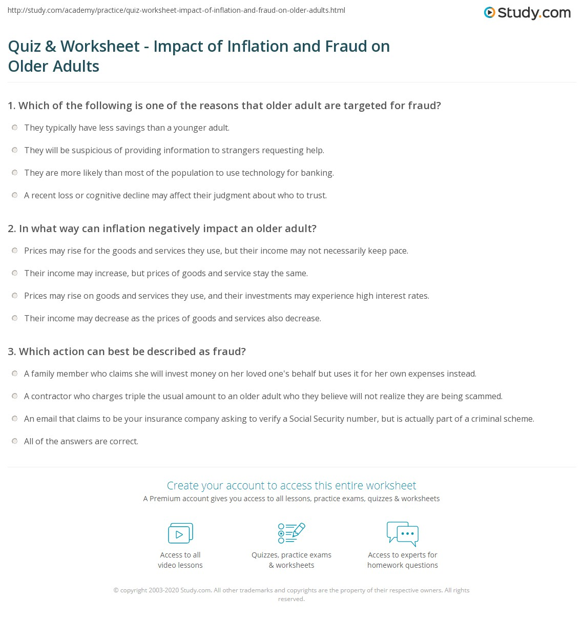 Quiz Worksheet Impact of Inflation and Fraud on Older Adults – Cognitive Worksheets for Adults