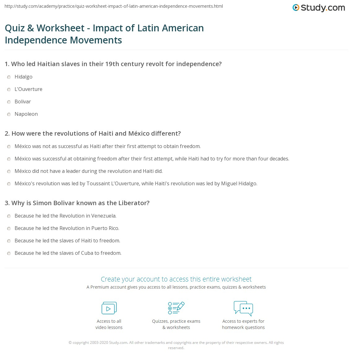 Aldiablosus  Outstanding Quiz Amp Worksheet  Impact Of Latin American Independence Movements  With Lovely Print Independence Movements In Latin America Examples Amp Impact Worksheet With Astounding Word Problems With Fractions Worksheets Also Compositions Of Transformations Worksheet In Addition Verb Worksheets St Grade And Single Step Equations Worksheet As Well As Greek Gods Worksheet Additionally Winter Worksheets For Kindergarten From Studycom With Aldiablosus  Lovely Quiz Amp Worksheet  Impact Of Latin American Independence Movements  With Astounding Print Independence Movements In Latin America Examples Amp Impact Worksheet And Outstanding Word Problems With Fractions Worksheets Also Compositions Of Transformations Worksheet In Addition Verb Worksheets St Grade From Studycom