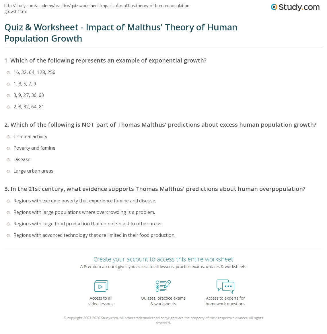 Quiz Worksheet Impact of Malthus Theory of Human Population – Human Population Worksheet