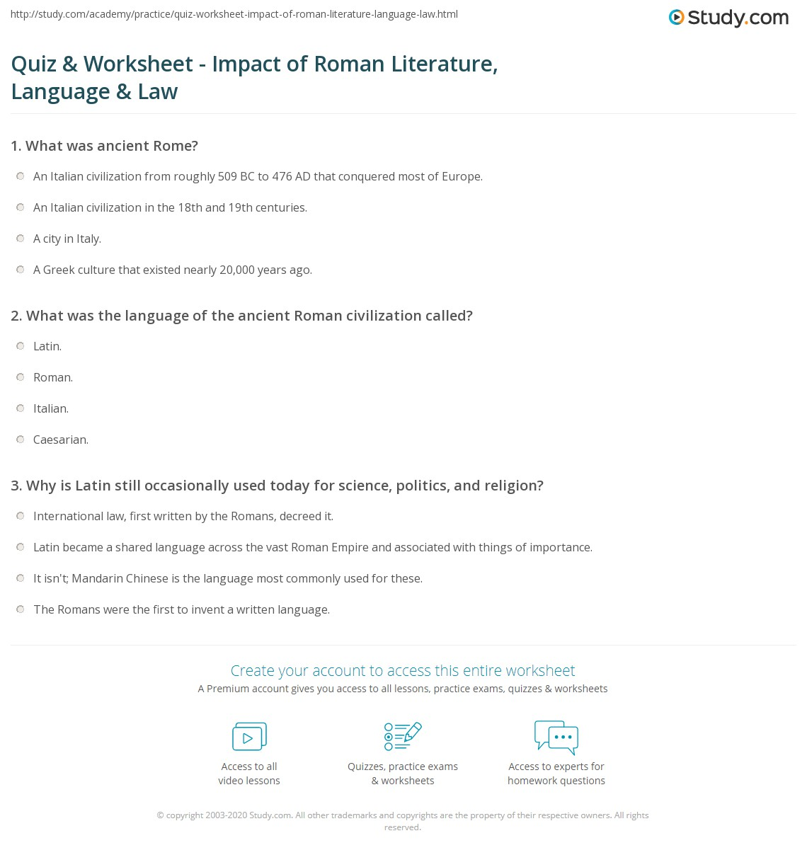 Free Worksheet Italian Language Worksheets quiz worksheet impact of roman literature language law print legacies worksheet
