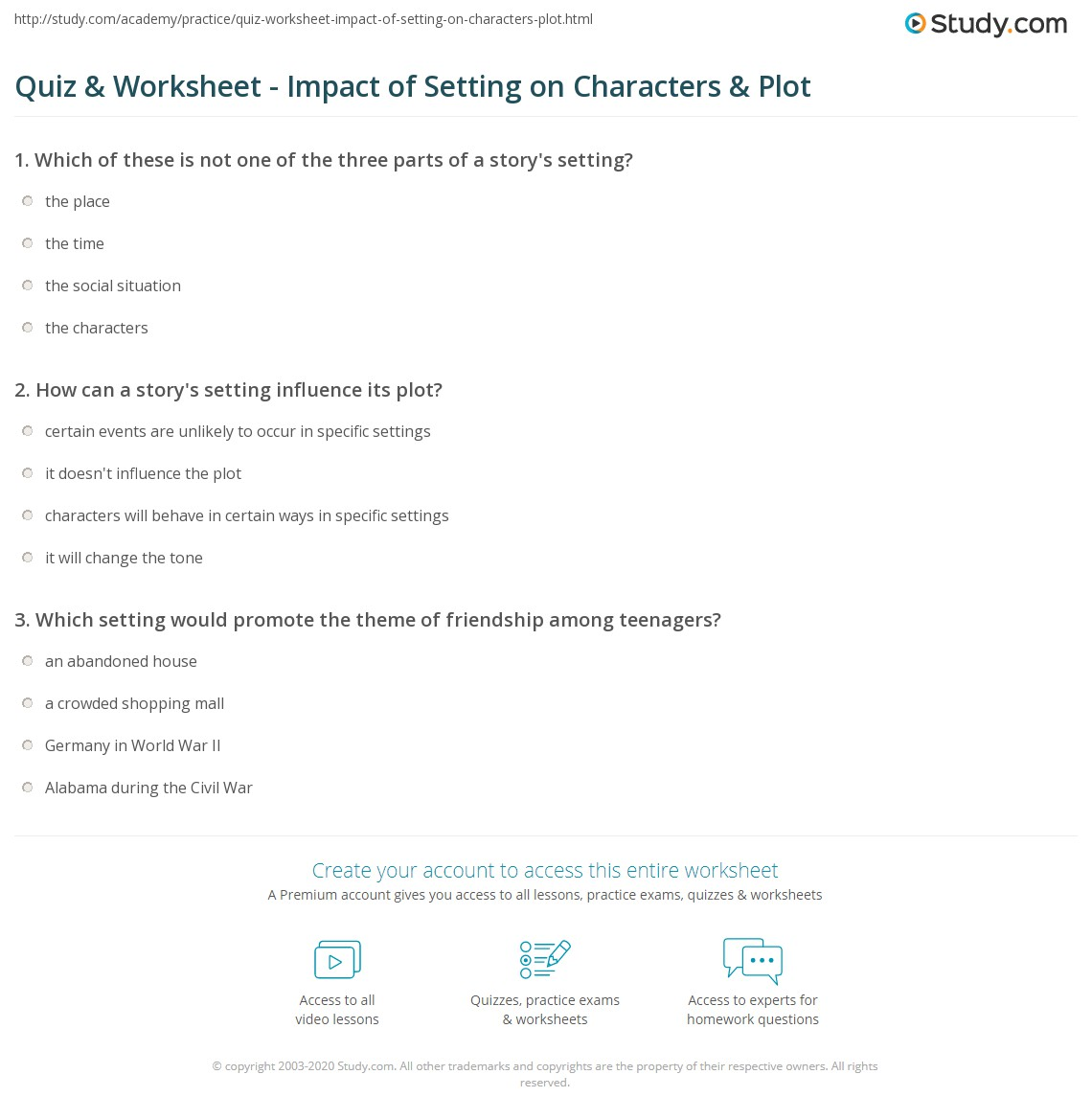 Quiz Worksheet Impact of Setting on Characters Plot – Setting of a Story Worksheets