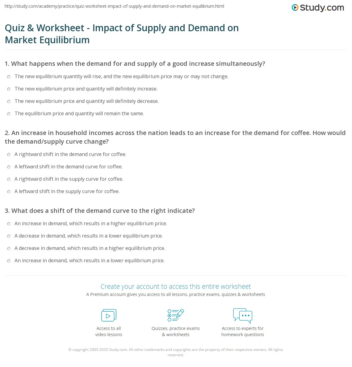 Quiz Worksheet Impact of Supply and Demand on Market – Equilibrium Worksheet