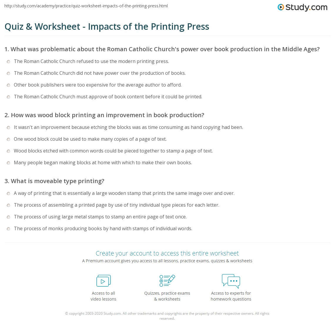 Worksheets Print Worksheet quiz worksheet impacts of the printing press study com print how changed world worksheet