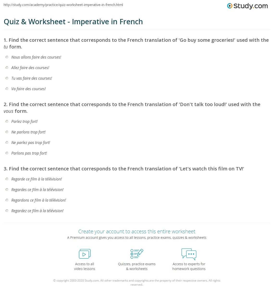 Quiz Worksheet Imperative in French – French Worksheets