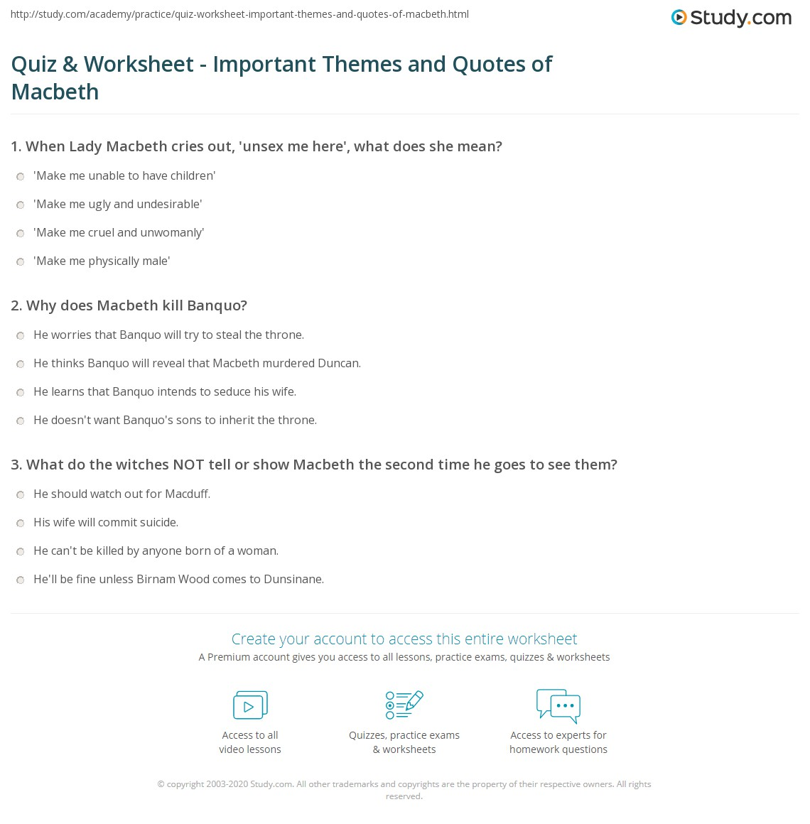 quiz worksheet important themes and quotes of macbeth com print macbeth themes and quotes from the scottish play worksheet