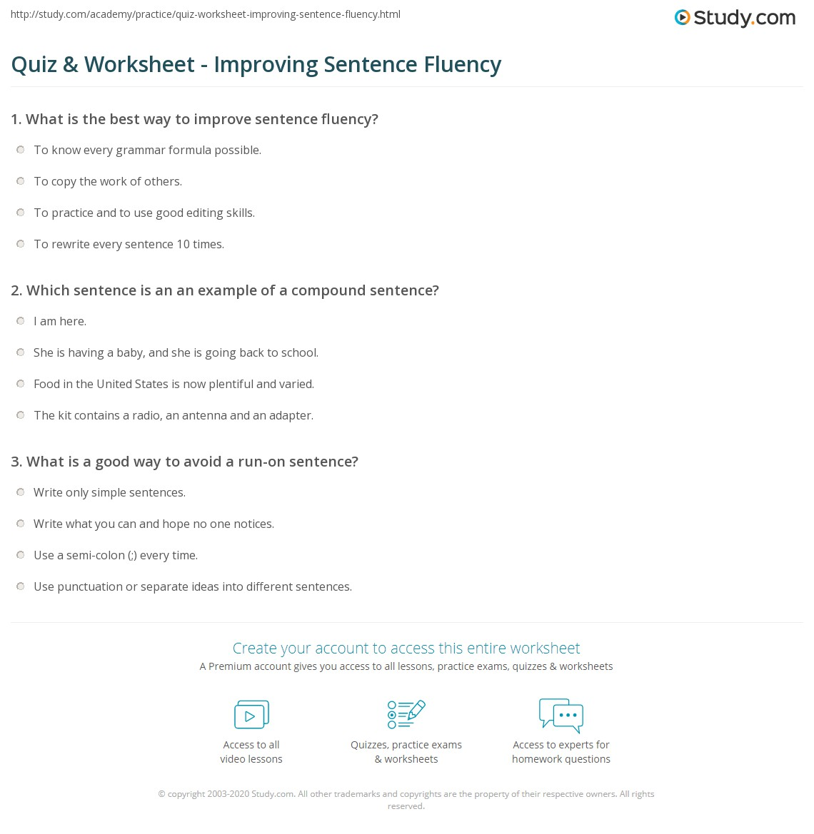 Quiz Worksheet Improving Sentence Fluency – Fanboys Worksheet