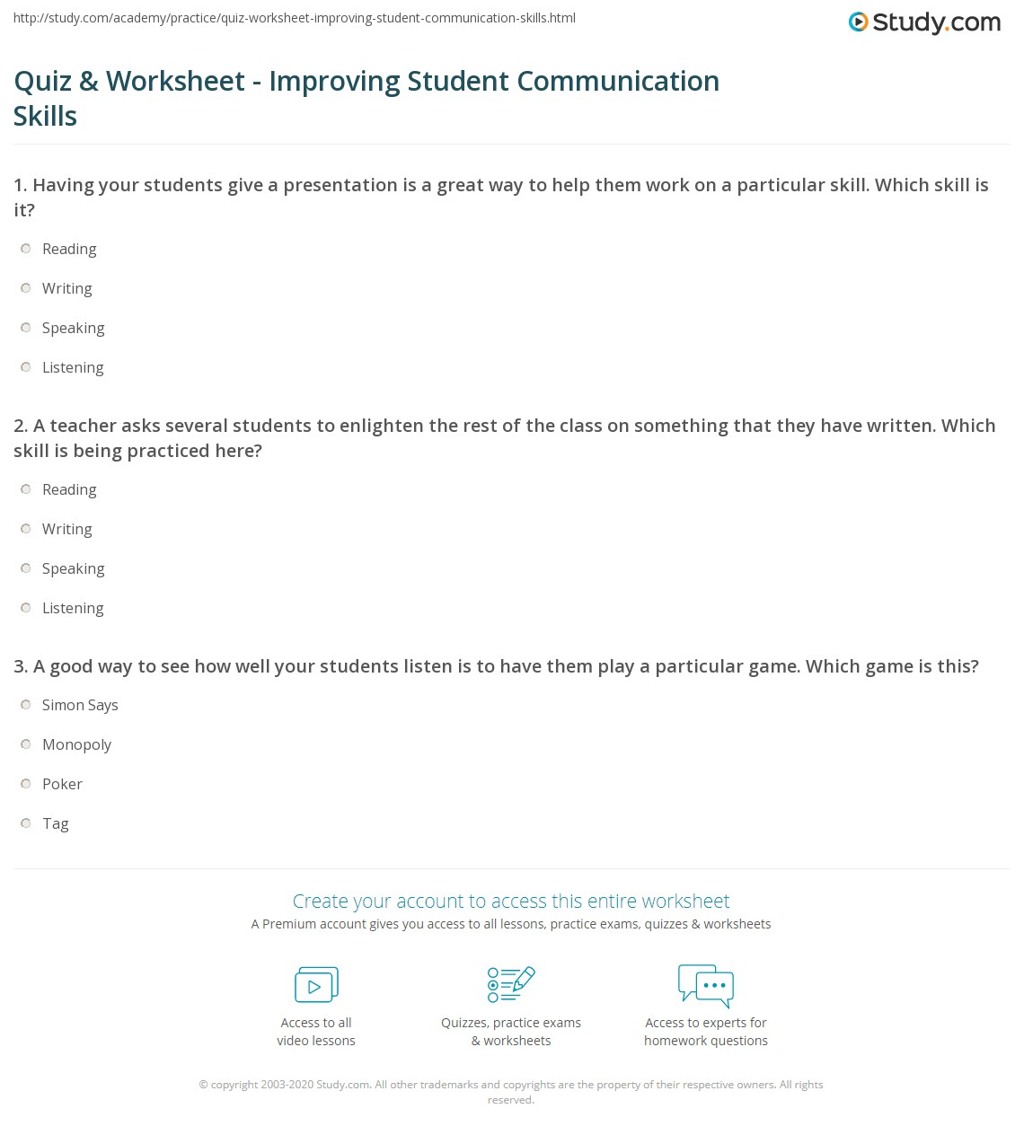 Quiz Worksheet Improving Student Communication Skills – Listening Skills Worksheets