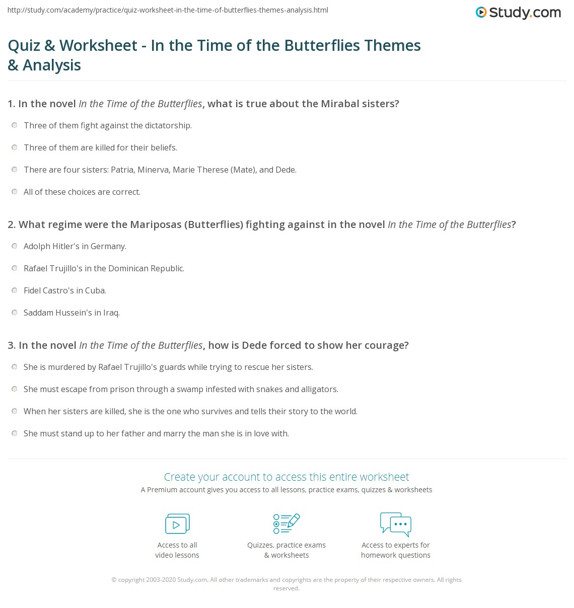 Quiz & Worksheet - In the Time of the Butterflies Themes ...
