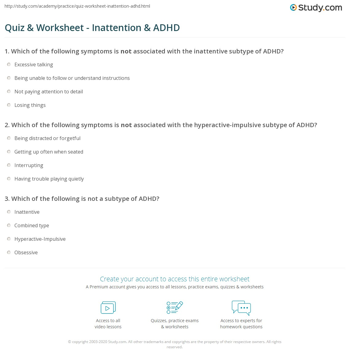 quiz worksheet inattention adhd com print inattention adhd definition explanation worksheet