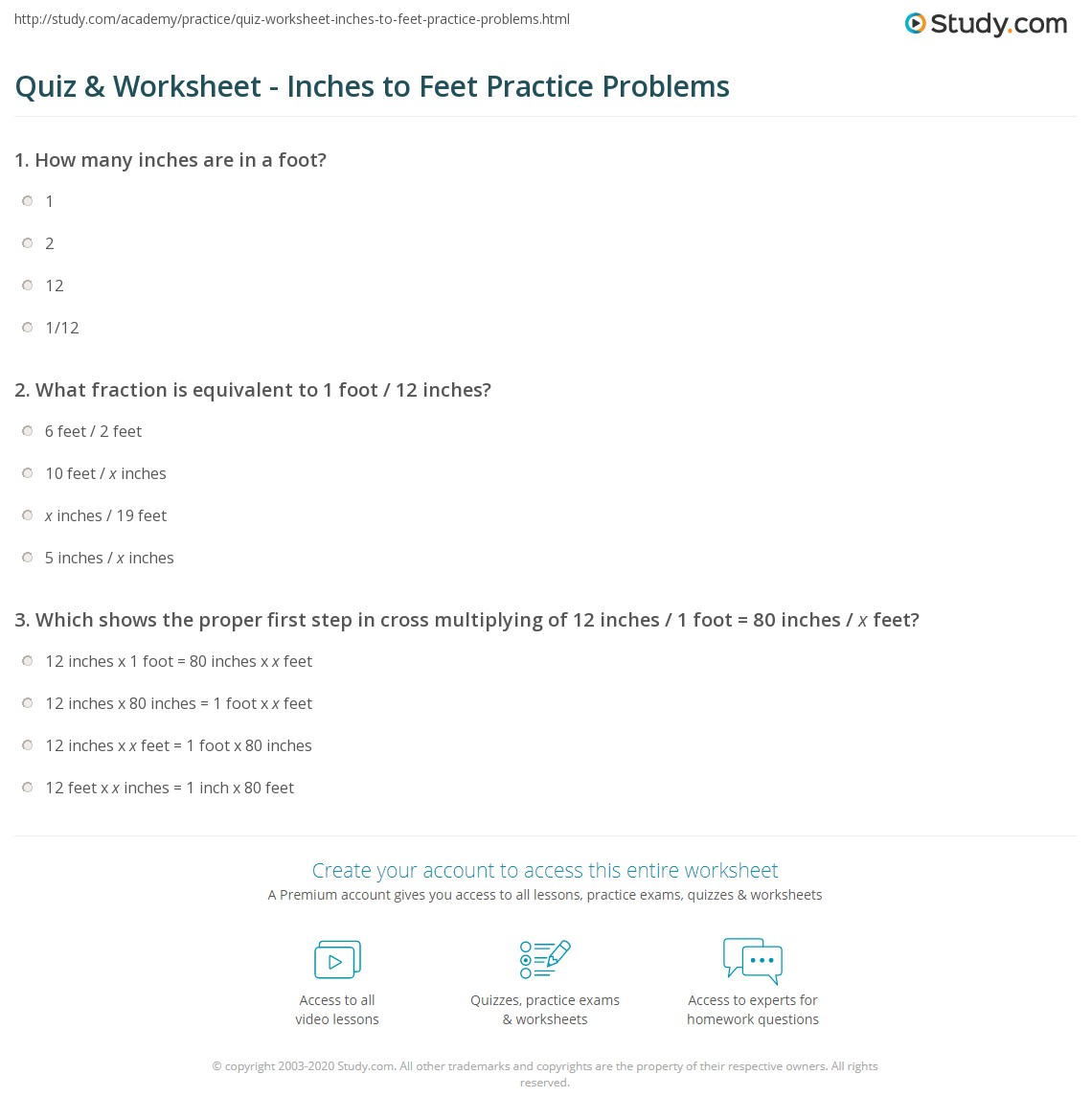 Printables Inches To Feet Worksheet quiz worksheet inches to feet practice problems study com print converting 62 how steps worksheet