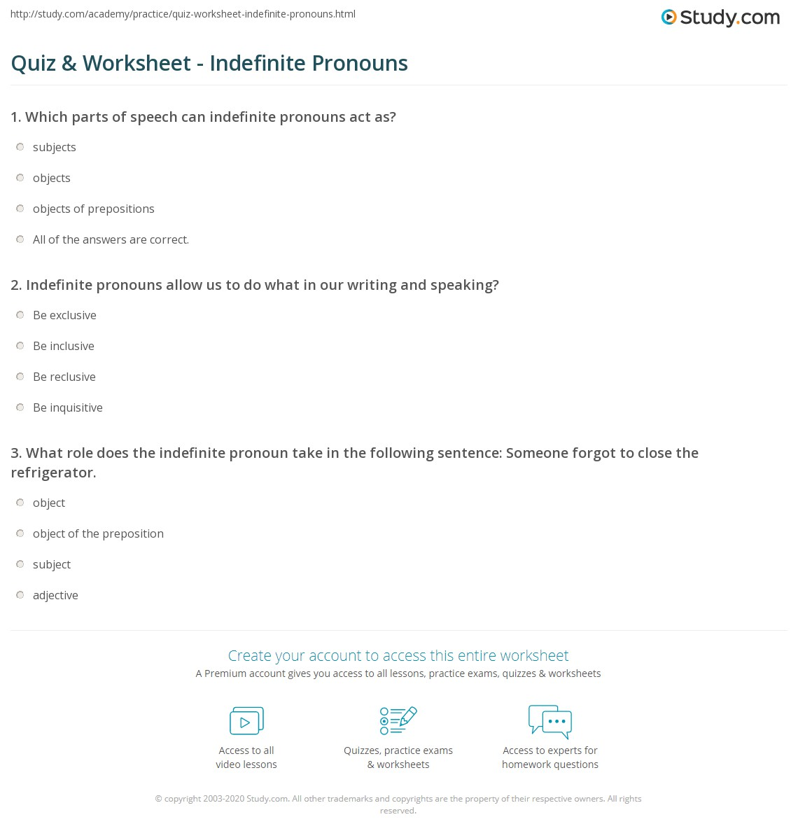 Worksheet What Are The Indefinite Pronouns quiz worksheet indefinite pronouns study com print what is an pronoun definition examples worksheet