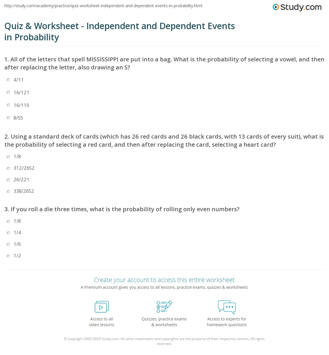 Quiz Worksheet Independent and Dependent Events in Probability – Independent Practice Math Worksheet