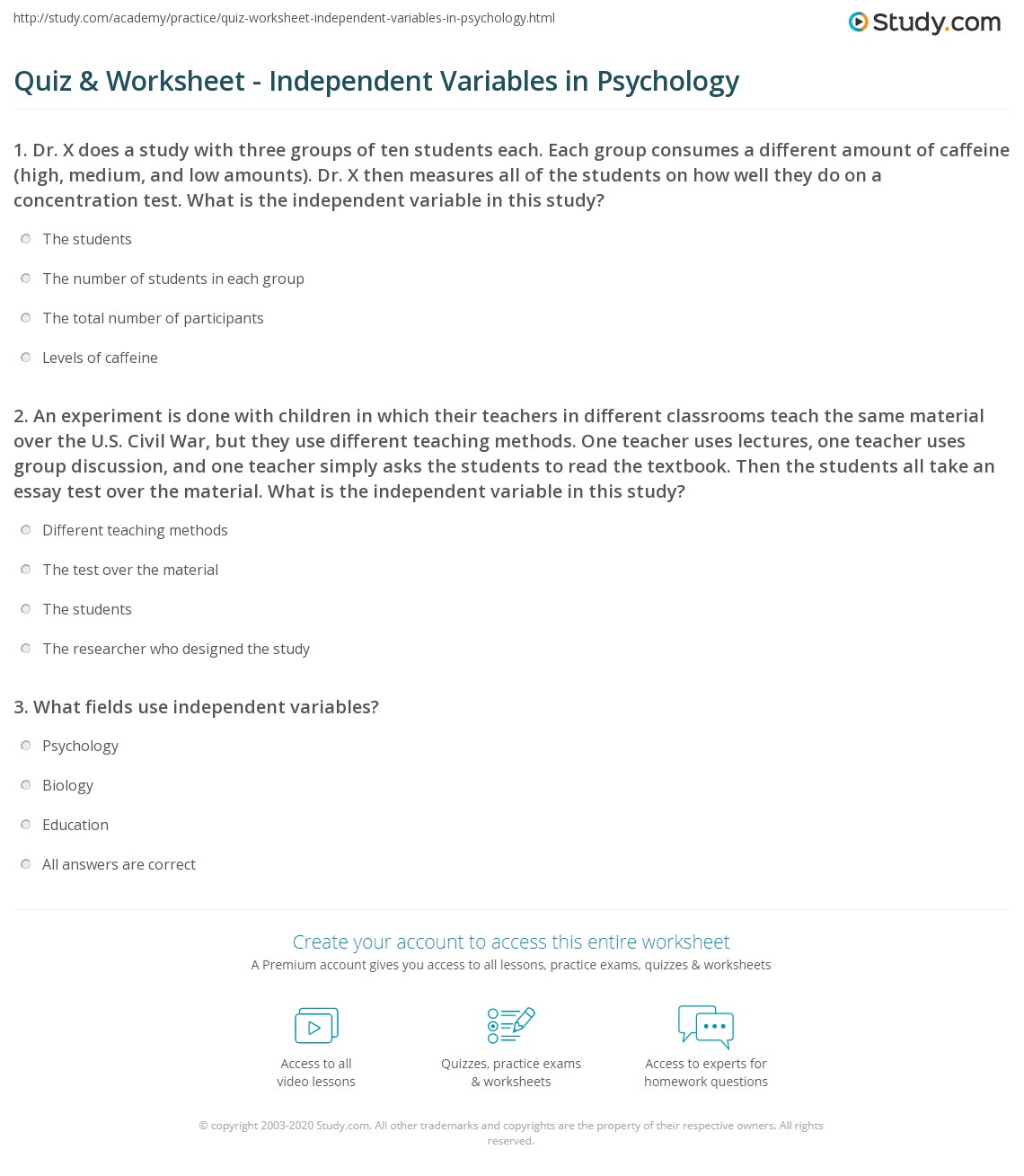 Printables High School Psychology Worksheets quiz worksheet independent variables in psychology study com 1 an experiment is done with children which their teachers different classrooms teach the same material over u s civi
