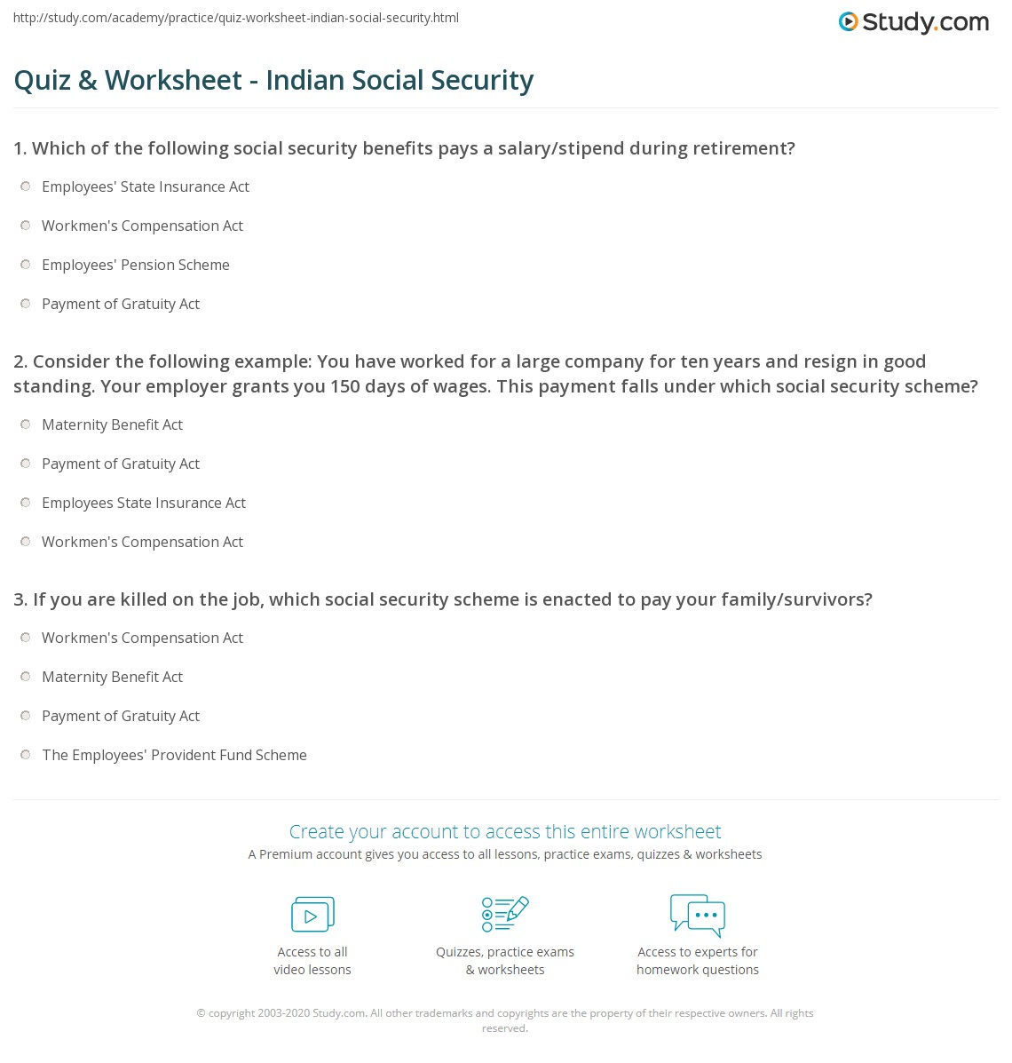 Quiz Worksheet Indian Social Security – Social Security Benefits Worksheet