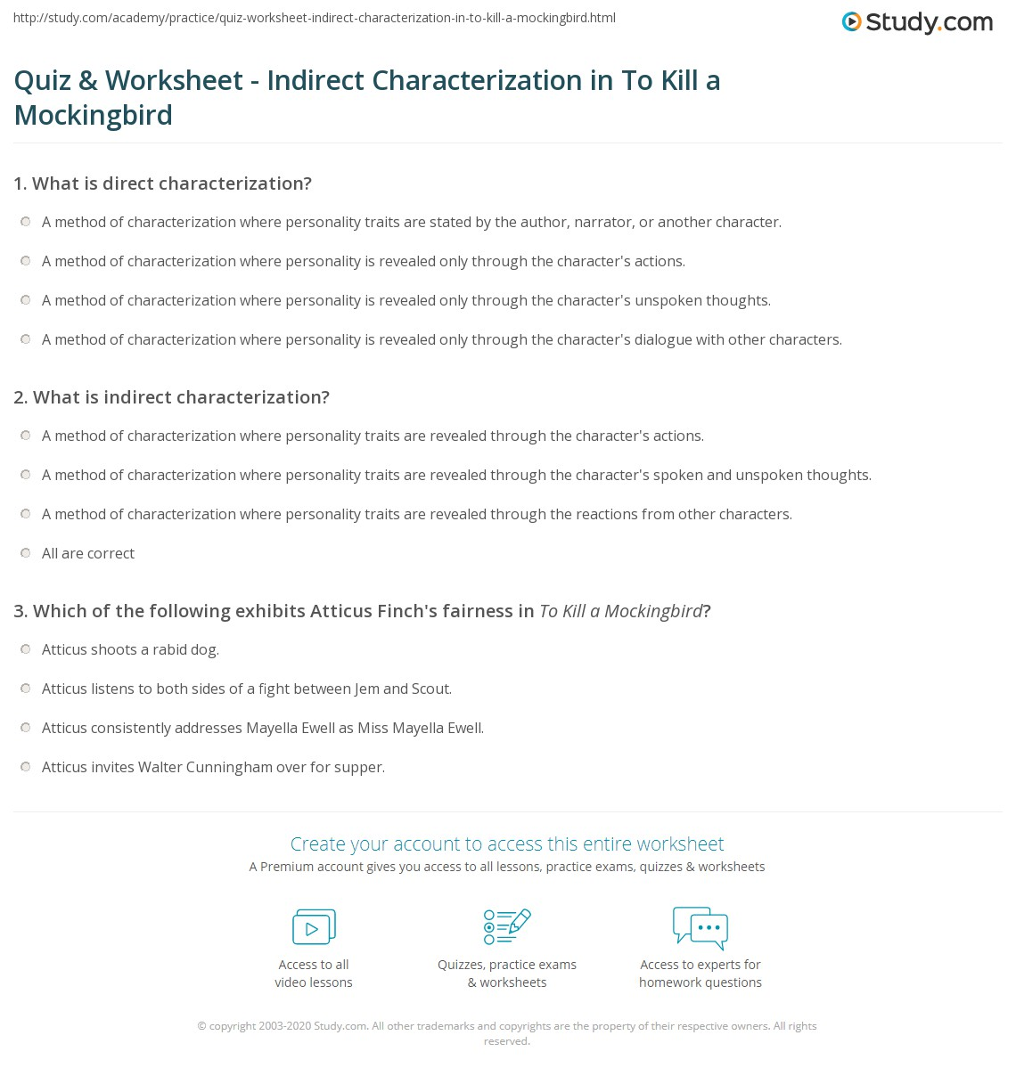 Characterization Worksheet 3: Quiz & Worksheet   Indirect Characterization in To Kill a    ,