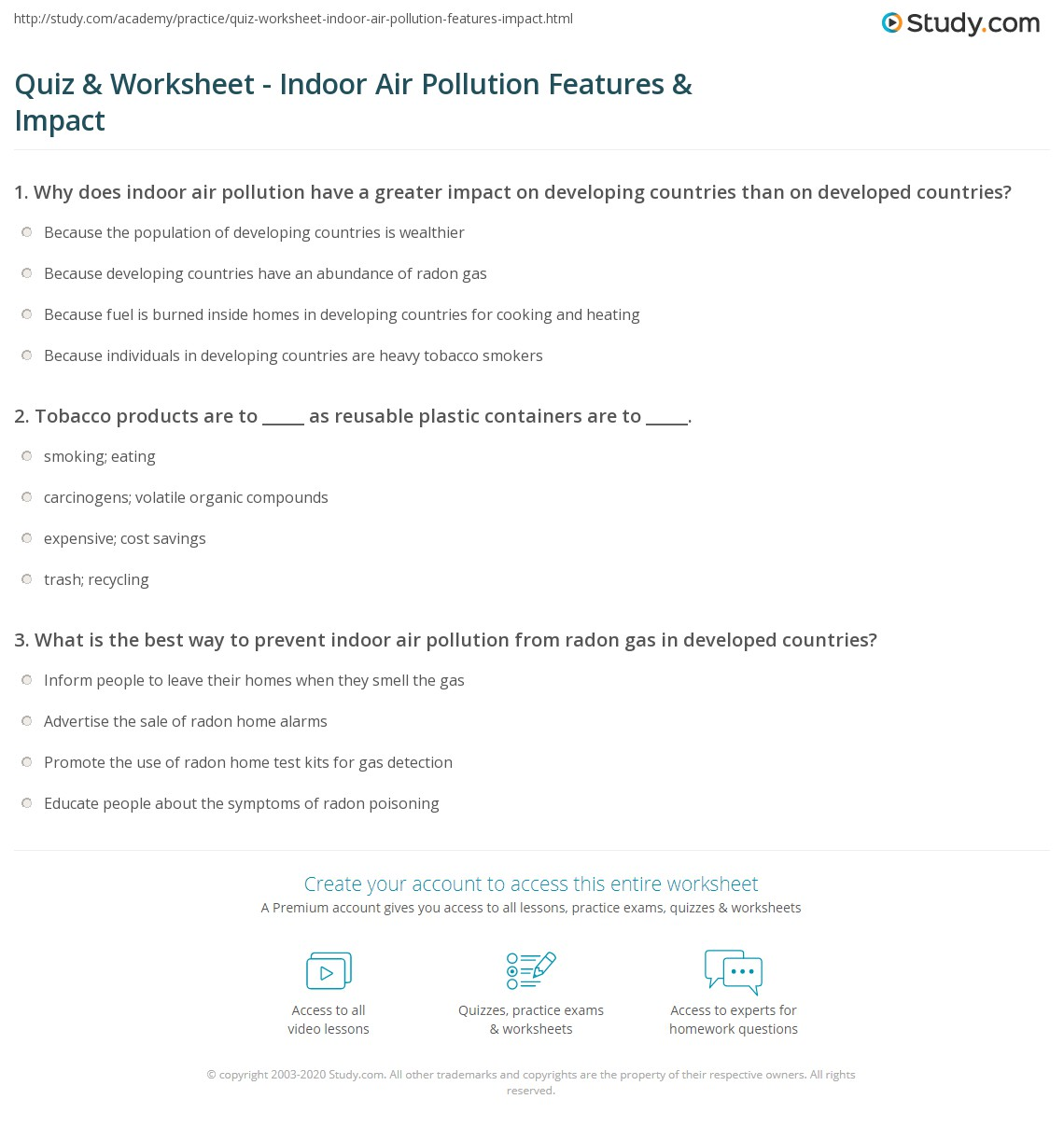 Quiz & Worksheet - Indoor Air Pollution Features & Impact | Study.com