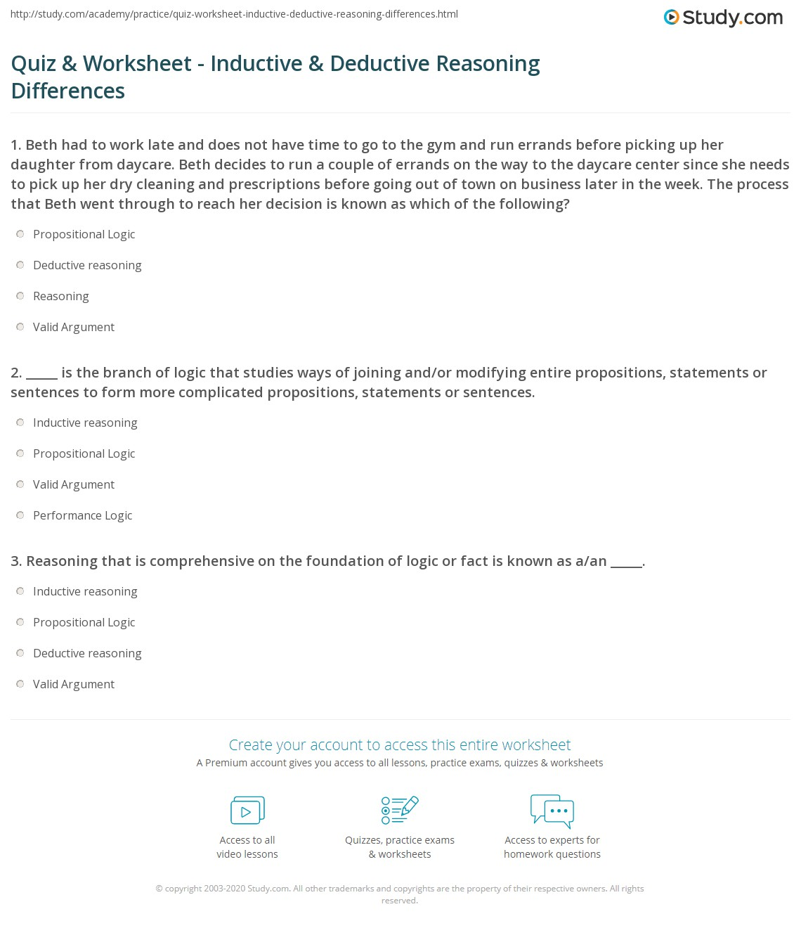Quiz Worksheet Inductive Deductive Reasoning Differences – Inductive Reasoning Worksheet