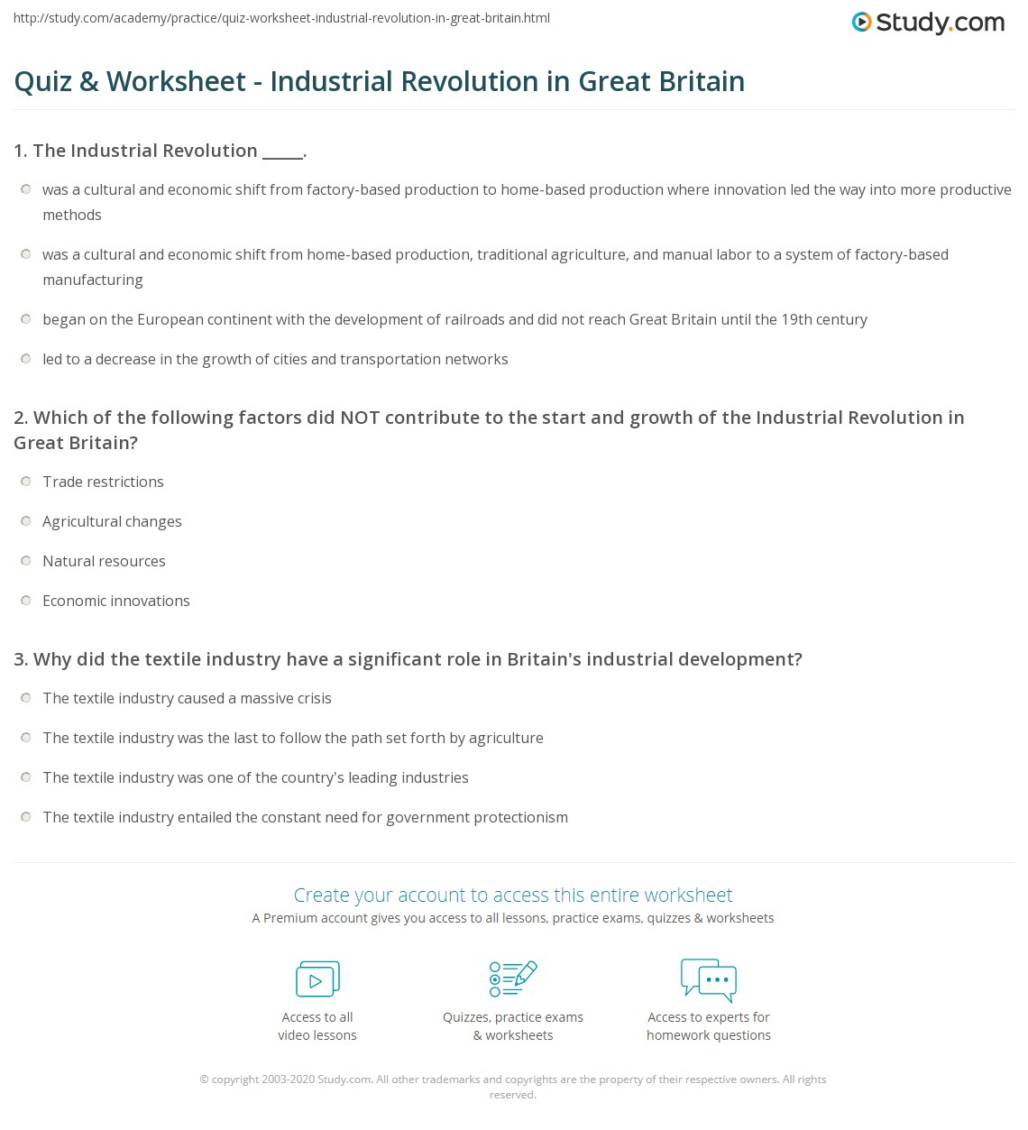 Worksheets Industrial Revolution Worksheets quiz worksheet industrial revolution in great britain study com print leads the worksheet