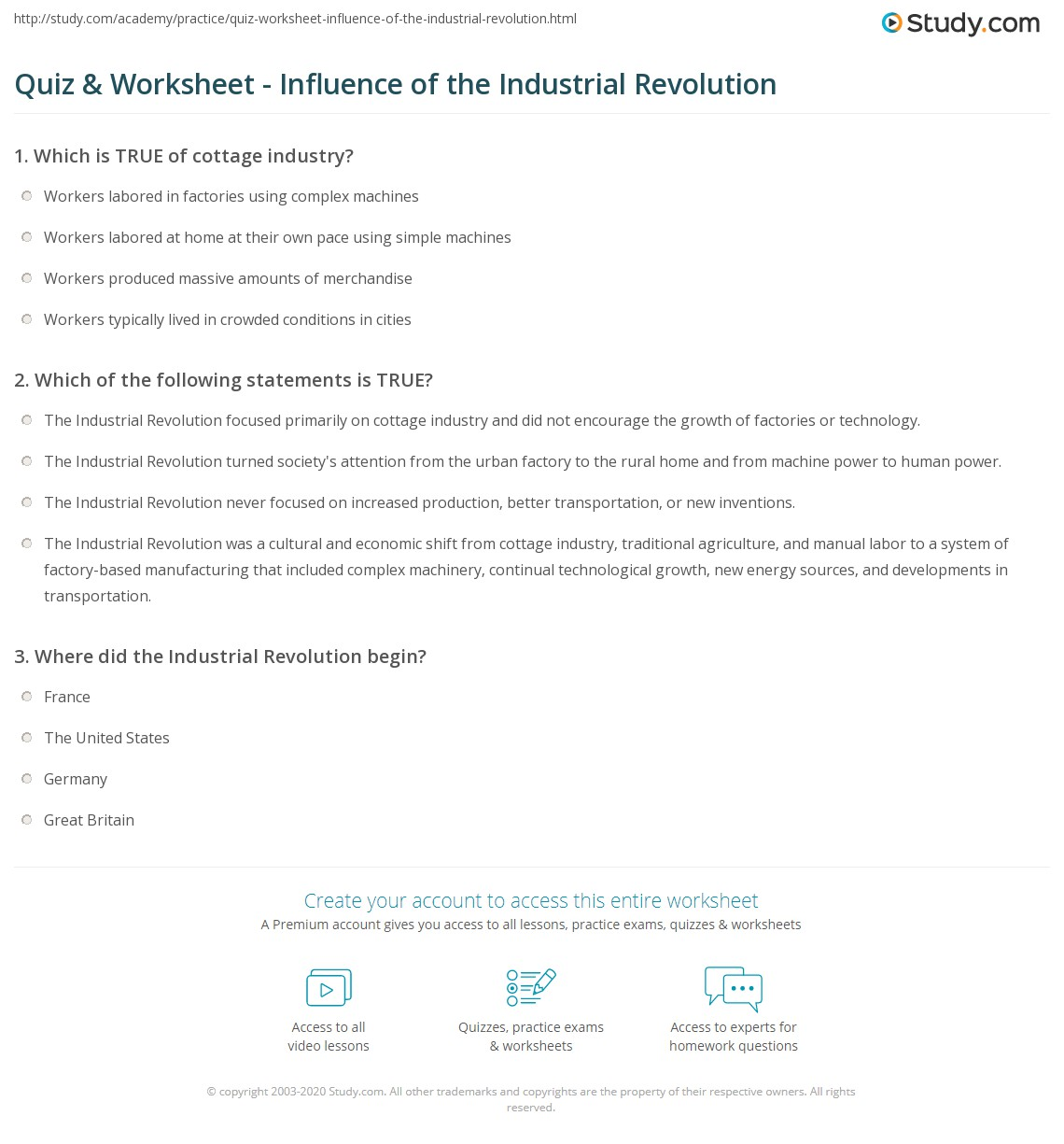 quiz worksheet influence of the industrial revolution com print the industrial revolution 1750 1850 growth impact worksheet