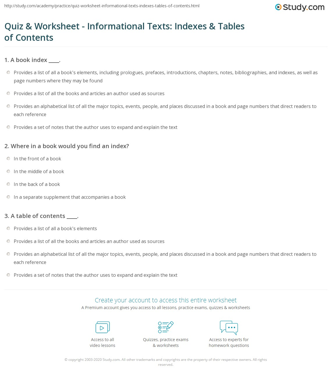 {Quiz Worksheet Informational Texts Indexes Tables of – Table of Contents Worksheet