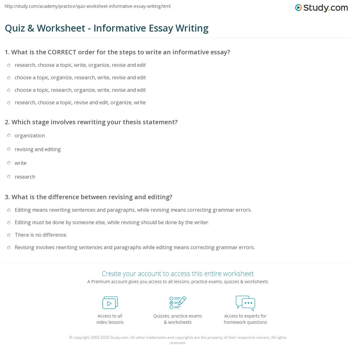 Quiz Worksheet Informative Essay Writing – Informative Essay