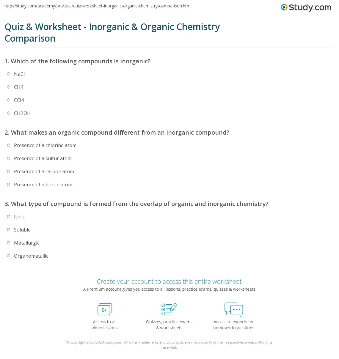 quiz worksheet inorganic organic chemistry comparison print inorganic vs organic chemistry worksheet
