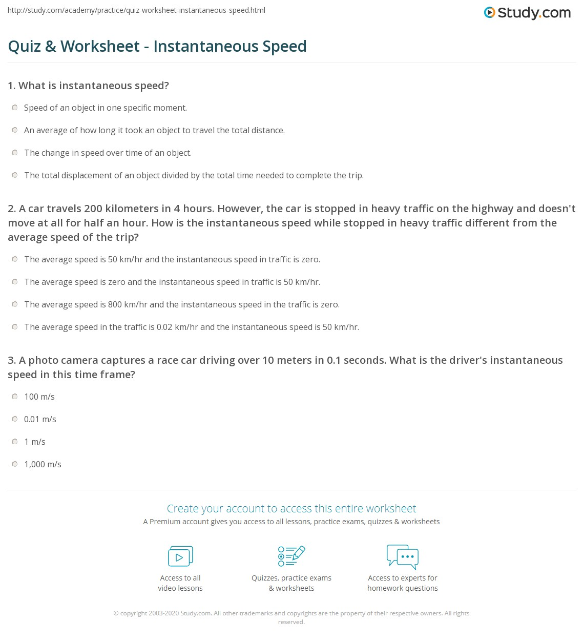 Quiz Worksheet Instantaneous Speed – Speed Problem Worksheet