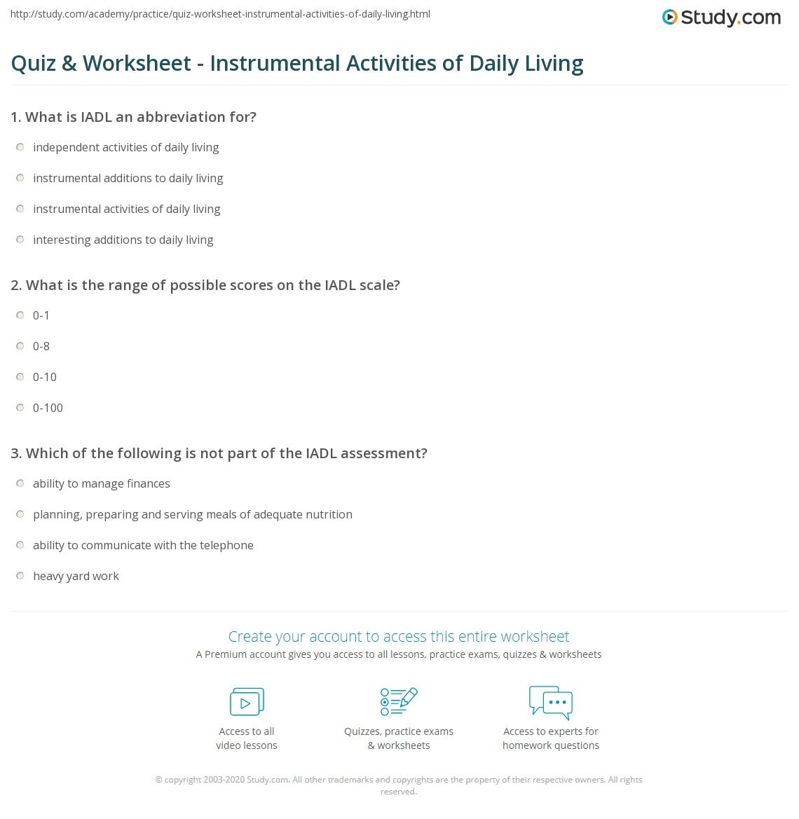 Printables Activities Of Daily Living Worksheets quiz worksheet instrumental activities of daily living study com print iadl definition scale worksheet