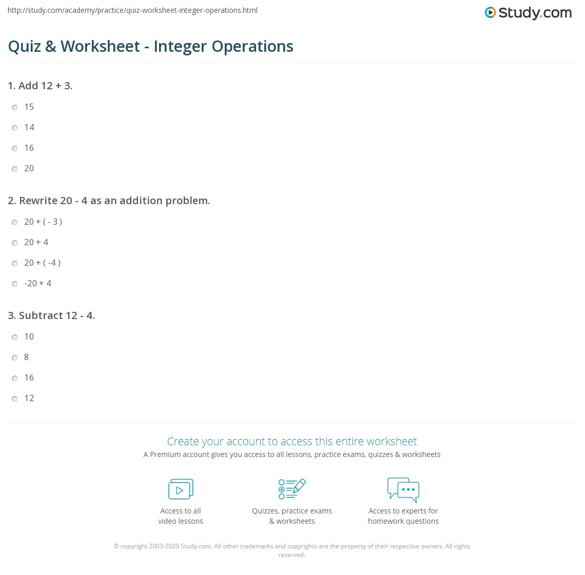 Quiz Worksheet Integer Operations – Adding Subtracting Multiplying and Dividing Integers Worksheet