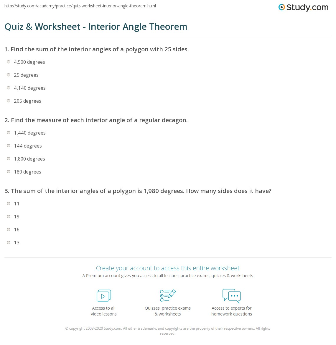 Quiz Worksheet Interior Angle Theorem Studycom