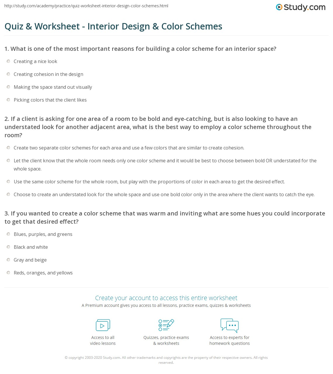 Quiz Worksheet Interior Design Color Schemes