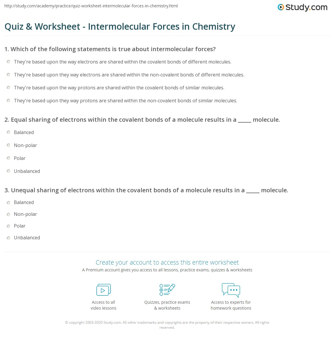 Quiz & Worksheet - Intermolecular Forces in Chemistry | Study.com