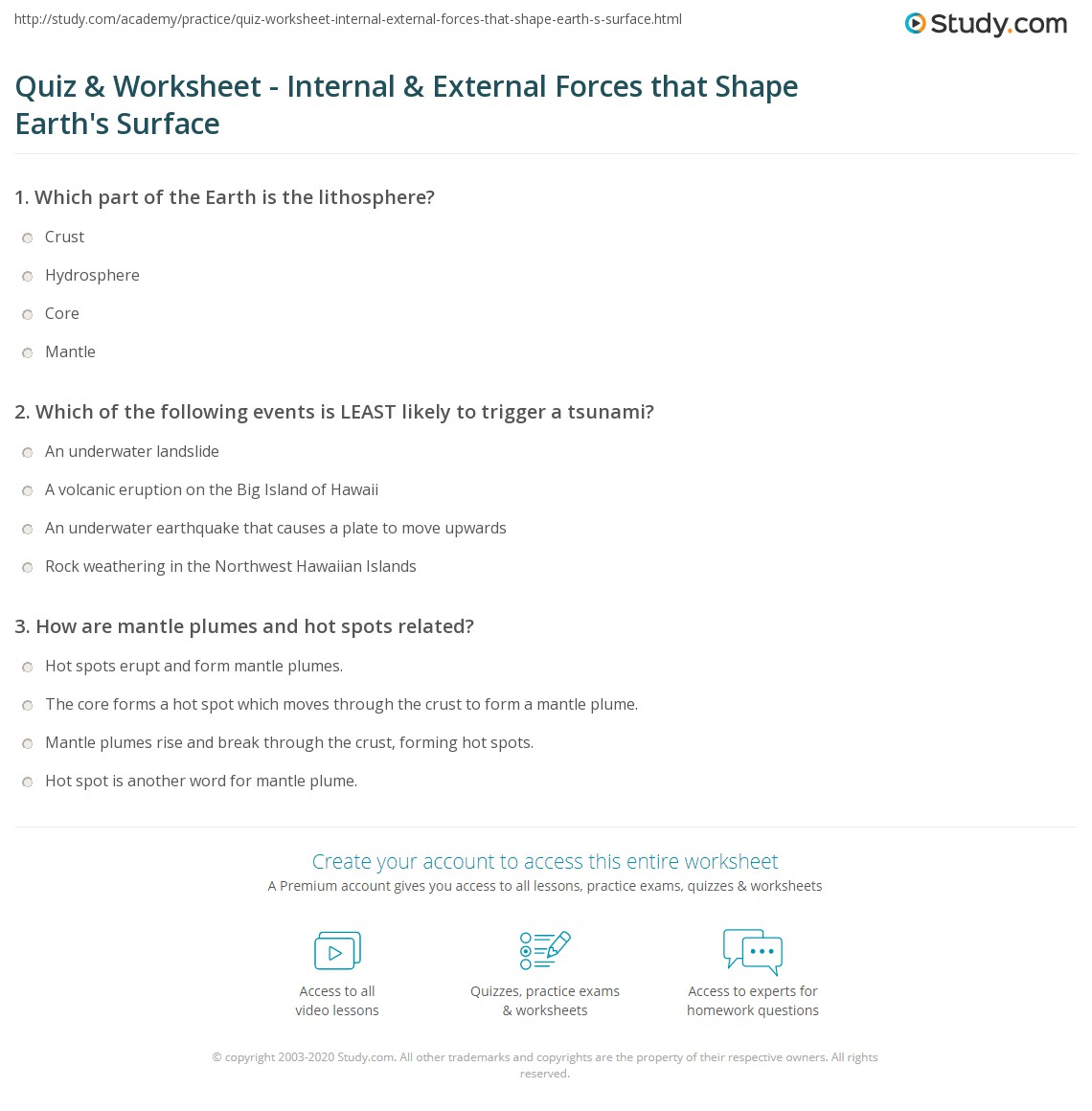 Worksheets Inside Planet Earth Video Questions Key quiz worksheet internal external forces that shape earths print the dynamic earth surface worksheet