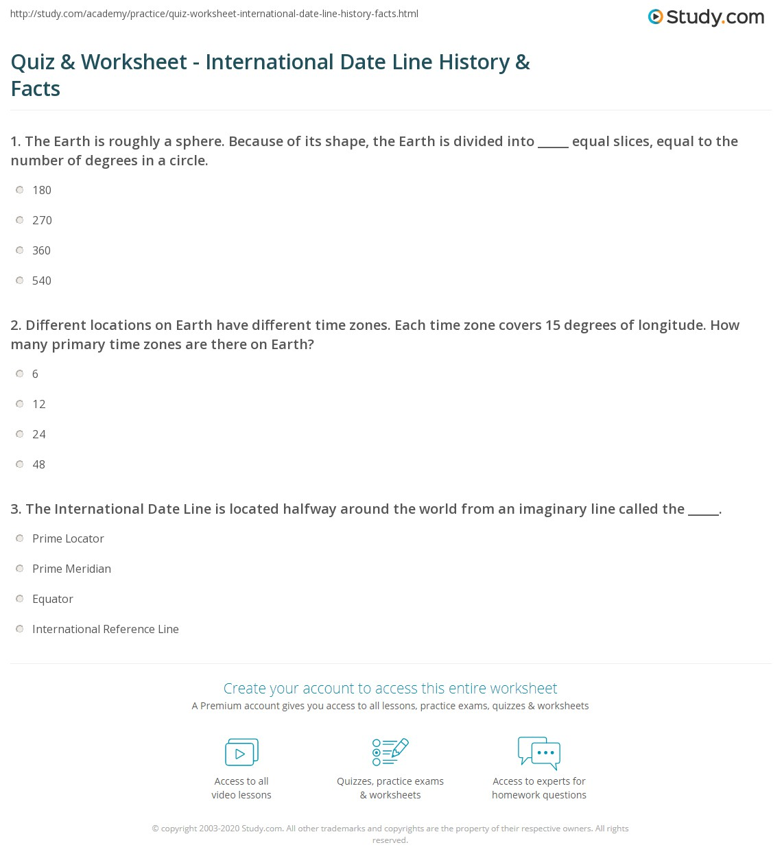 Quiz Worksheet International Date Line History Facts – Time Zones Worksheet