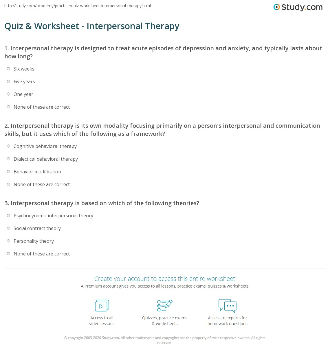 Quiz Worksheet Interpersonal Therapy – Cognitive Behavioral Therapy Worksheet