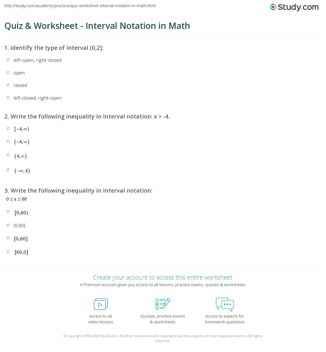 Quiz Worksheet Interval Notation in Math – Free Ged Math Practice Worksheets