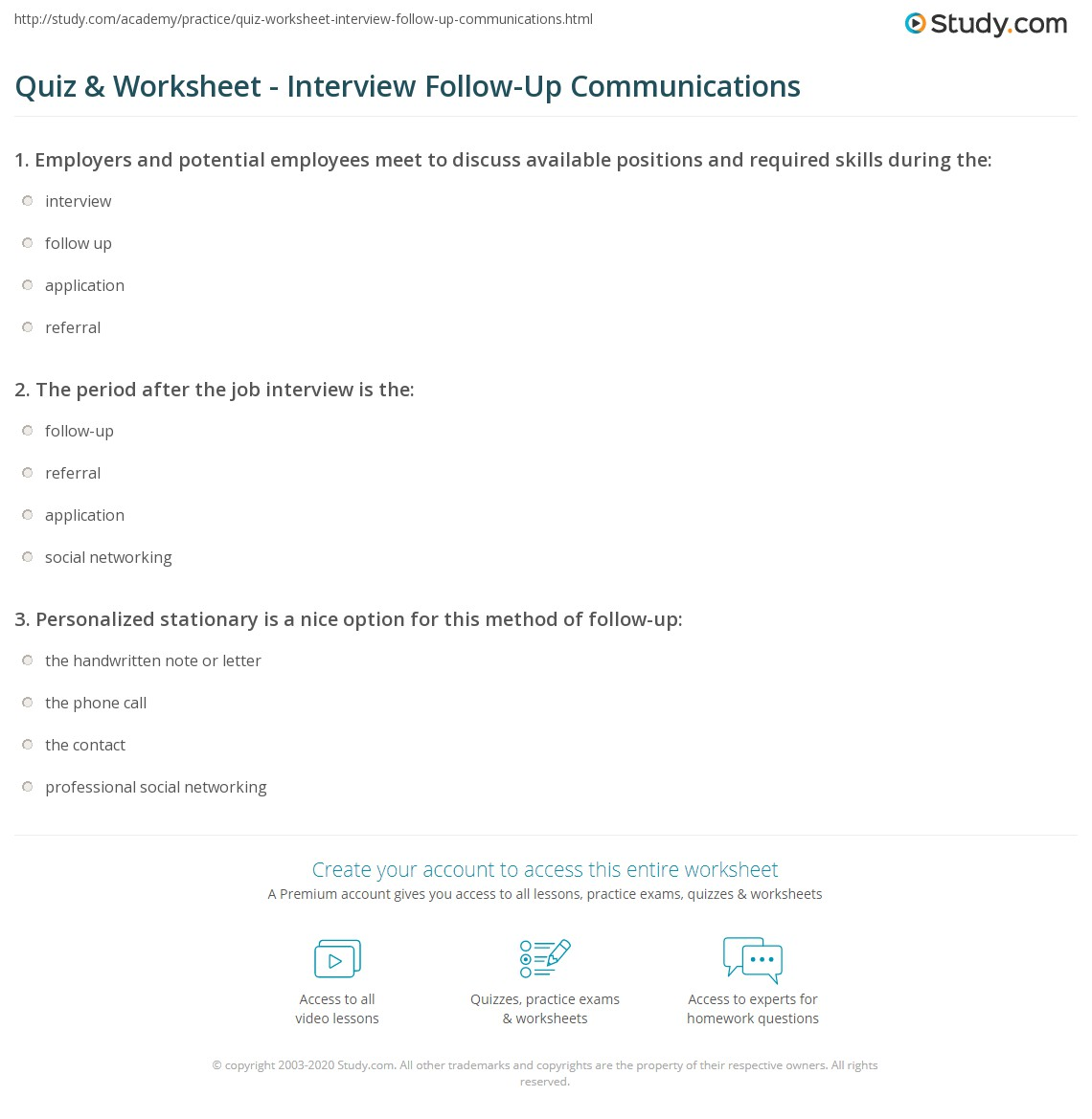 quiz worksheet interview follow up communications study com print how to follow up after an interview worksheet