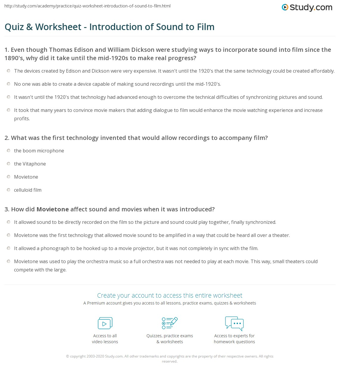 Quiz Worksheet Introduction of Sound to Film – Film Study Worksheet