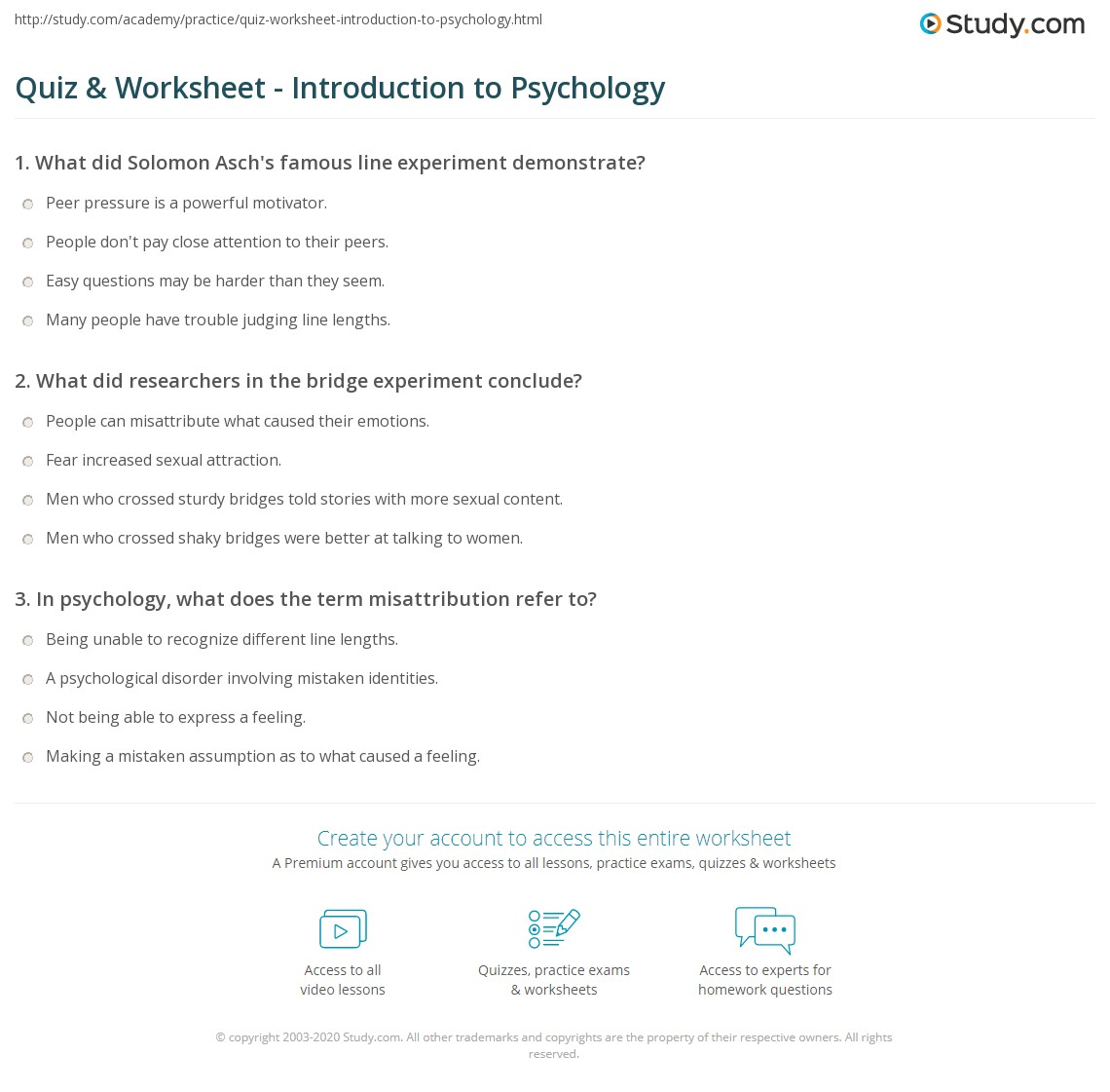 Printables High School Psychology Worksheets quiz worksheet introduction to psychology study com print intro worksheet