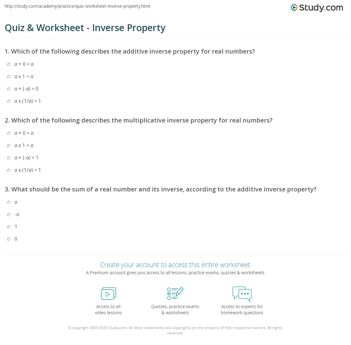 Quiz Worksheet Inverse Property – Multiplicative Inverse Worksheet