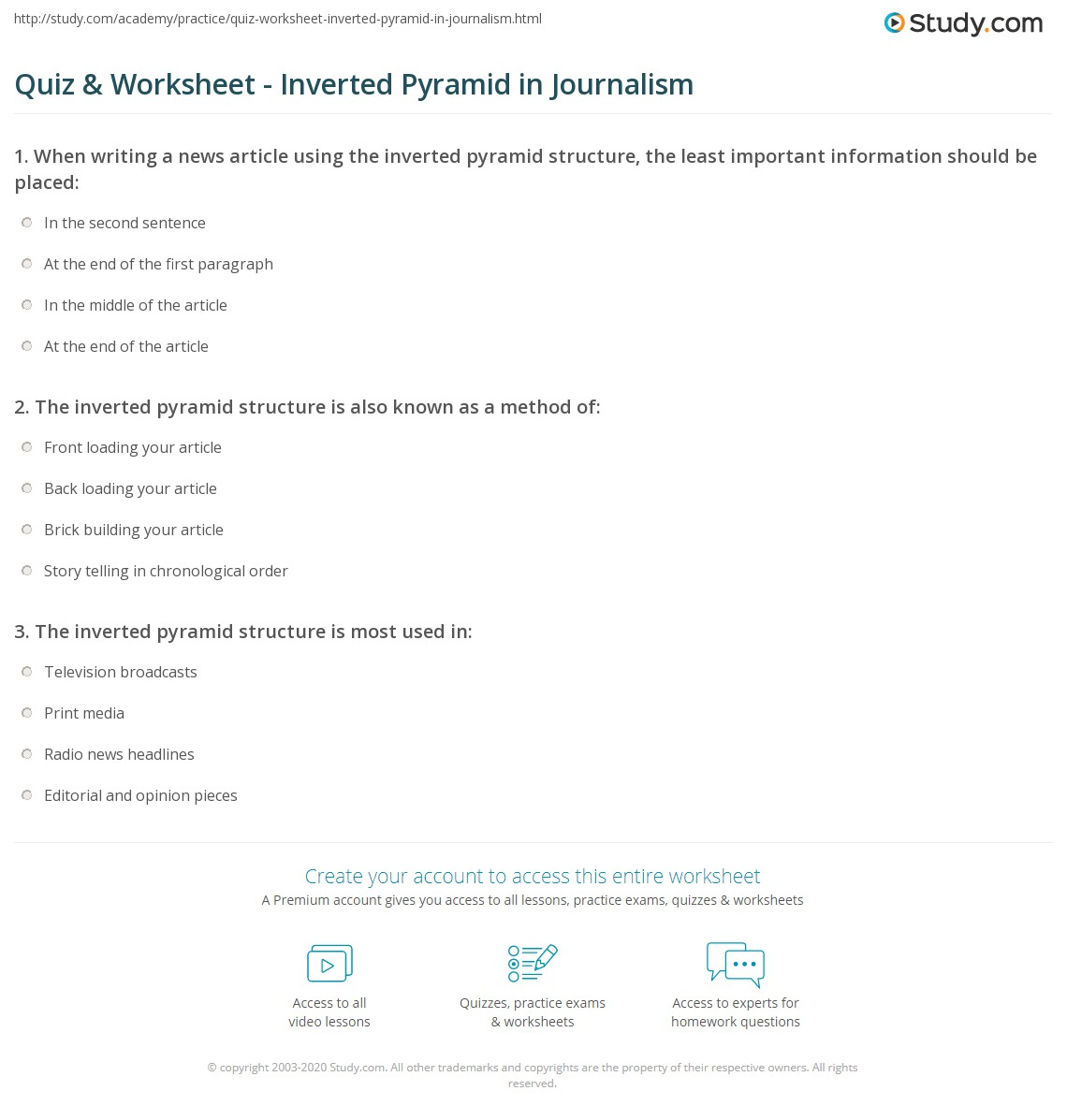 inverted pyramid worksheet delibertad quiz worksheet inverted pyramid in journalism study com