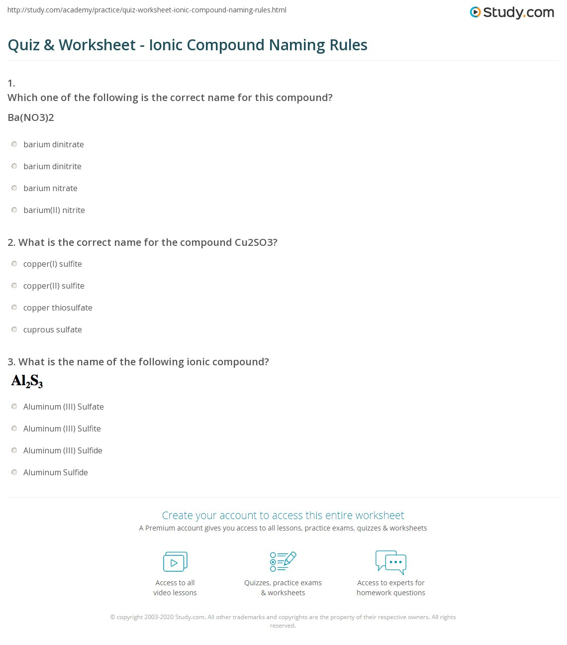 Naming Ionic Compounds Worksheet One Worksheets